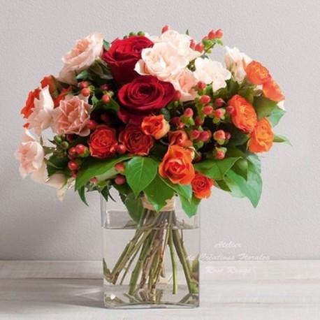 Bouquet de roses multicolores dedicace for Livraison fleurs rennes