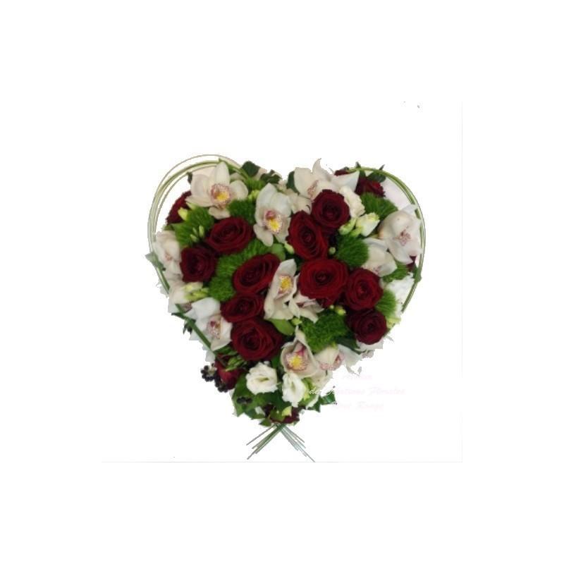 Coeur deuil blanc et rouge for Envoi fleurs deuil