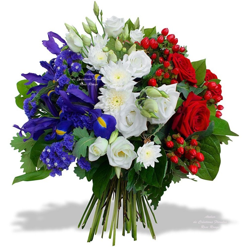 BOUQUET BLUE WHITE RED MOURNING