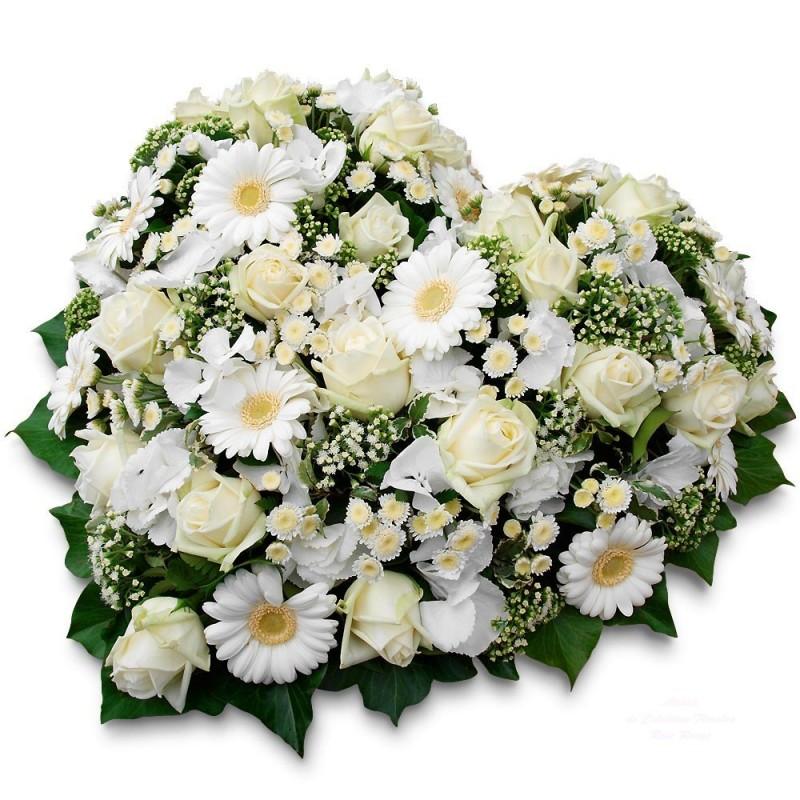 Coeur deuil honneur - Bouquet de fleur en coeur ...