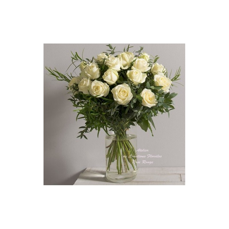 Bouquet de roses blanches alchimie for Bouquet de roses blanches