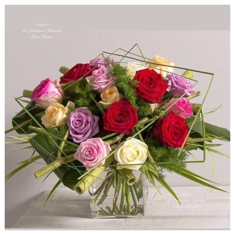 Bouquet De Roses Multicolores Poesie